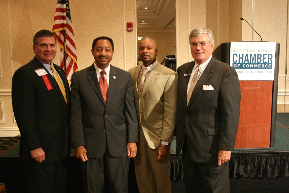 (from left) Rick Amelon, Chair of the Chamber's Armed Forces Committee; Dr. Tony Atwater; Henri Parks, Chair-elect of the Chamber's Norfolk Division; and Jack Hornbeck, CCE, the Chamber's President & CEO