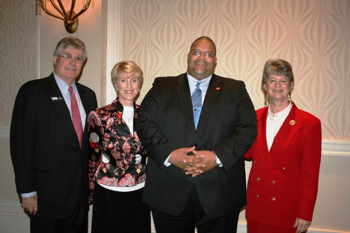 (from left) Jack Hornbeck, President and CEO of the Hampton Roads Chamber of Commerce; Jennifer Smith, Chair, Portsmouth Division, Hampton Roads Chamber of Commerce; Mayor Wright; and Deborah K. Stearns, Chair-Elect for the Chamber