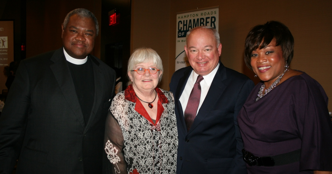 (from left) Father Harrell Cobb, Chair, Norfolk Airport Authority; Colleen Barrett, Chairman Emerita, former President and Corporate Secretary of Southwest Airlines; Norfolk Mayor Paul Fraim; Barbara Ciara, WTKR NewsChannel 3 anchor