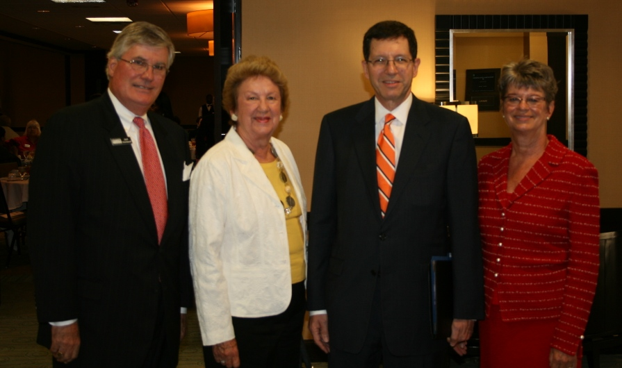 (from left) Jack Hornbeck, President and CEO of the Chamber; Jane Batten; Harry Harding, Dean of the Frank Batten School of Leadership & Public Policy at the University of Virginia; Deborah Stearns, Chamber Chair