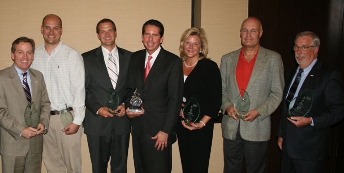 (from left) Chris Jones, Bennett's Creek Pharmacy; Kevin Riley, B&T Kitchens & Baths; Buddy Smith, Russell's Heating & Cooling; Dr. Stephen V. Scoper, Virginia Eye Consultants; Karen J. Spencer, Virginia Eye Consultants; Randy Case (accepting for Stealth Shredding Inc.), Case Management Group; John Henson (accepting for Gary M. Lisota), Valkyrie Enterprises LLC