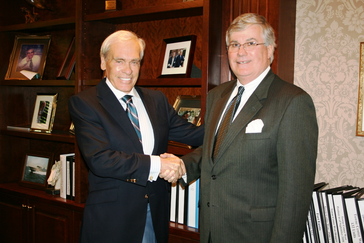 (from left) Ramon W. Breeden Jr. of The Breeden Company and Jack Hornbeck of the Chamber
