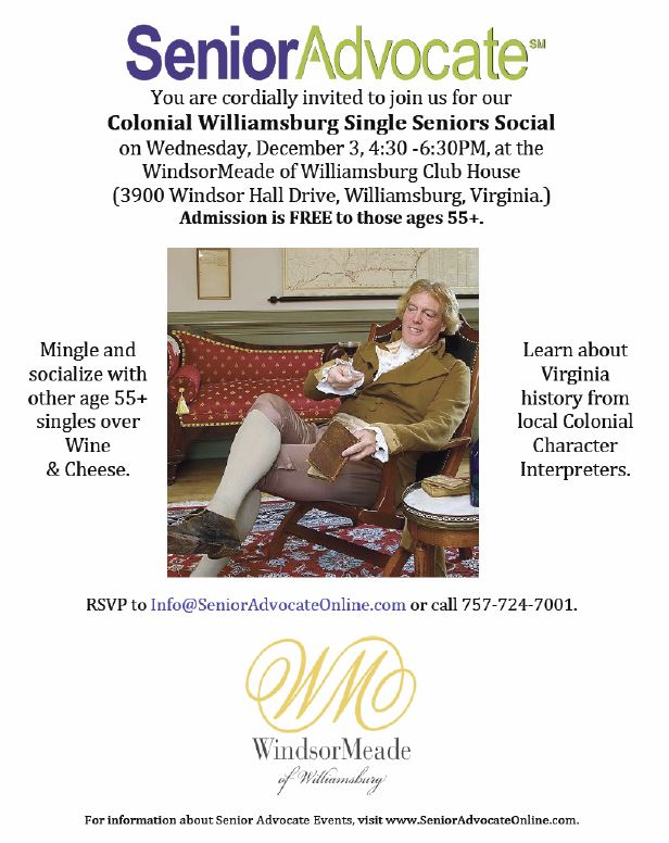 Colonial Williamsburg Single Seniors Social