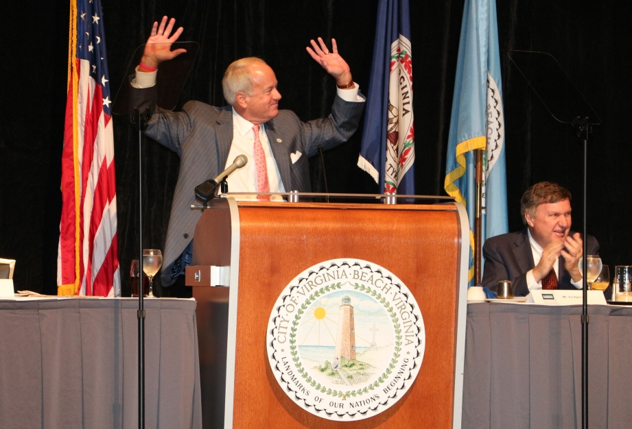 "Mayor William D. Sessoms dances to hit song ""Happy"" by Virginia Beach's own Pharrell Williams"