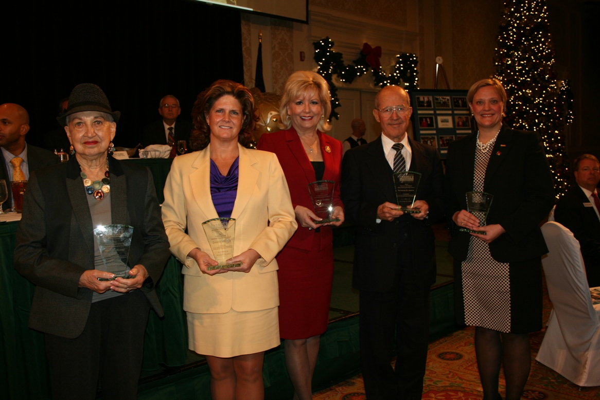 Volunteer Award recipients (from left) Mary Russo, Dawna Ellis, Shirley Forbes, Raymond Joseph and Betsy Bagnell Totten (not pictured: Dr. Nancy Welch)