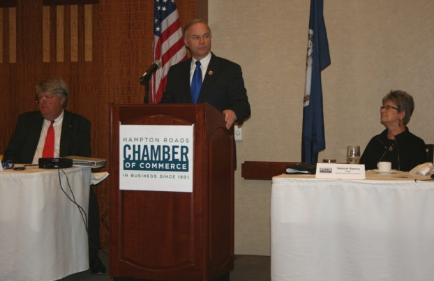 Congressman Randy Forbes addresses the group, while Shep Miller and Chamber Chair Deborah Stearns listen