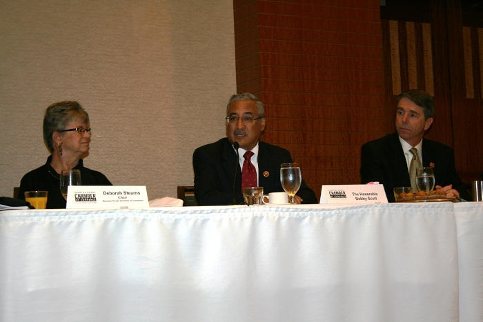 (from left) Chamber Board Chair Deborah Stearns; Congressman Bobby Scott; and Congressman Rob Wittman