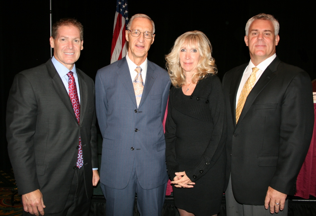 (from left) John DeGruttola, Optima Health; Dr. James Koch; Angela Blackwell Carter, Chamber's Vice President of Leadership Programs; and Jeff Ainslie, LHR 2011 Chair