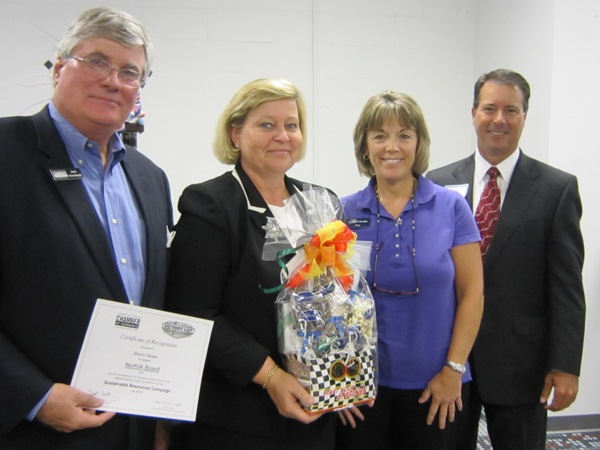 (from left) Chamber's President & CEO Jack Hornbeck; top producer Sherry Dewar, TowneBank; Terry Restin, The Royal Chocolate; and Chamber Chair Nelson Adcock, GeoEnvironmental Resources, Inc.
