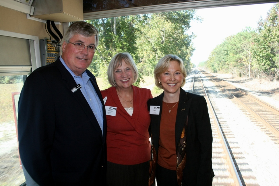 (from left)  Jack Hornbeck, President & CEO, Hampton Roads Chamber of Commerce; Thelma Drake, Director, Department of Rail and Public Transportation; and Deb Butler, Executive VP of Planning and CIO, Norfolk Southern.