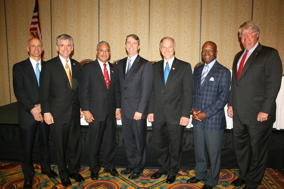 (from left) Steve Frederickson of Portfolio Recovery Associates; Congressman Scott Rigell; Congressman Bobby Scott; Congressman Rob Wittman; Congressman Randy Forbes; Gary McCollum of Cox Communications; and Shep Miller