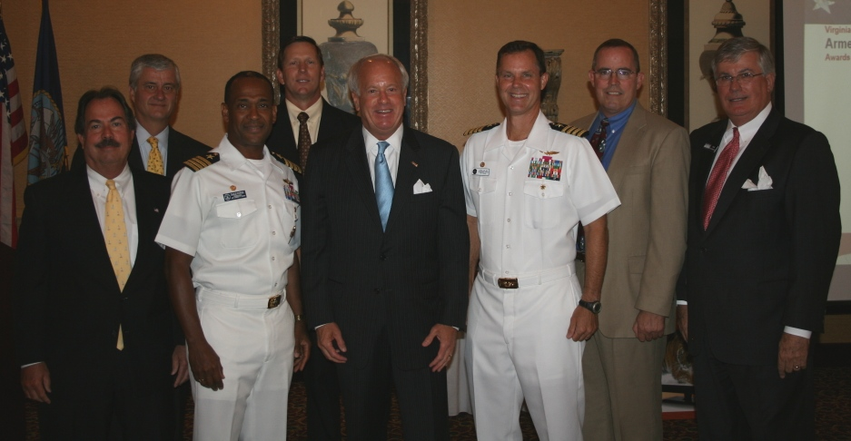 (from left) Tuck Bowie, President & CEO, The Terry Peterson Co. (Chamber's Virginia Beach Division Chair); Frank Mrocza, USA Discounters; Captain Charles Stuppard, Commanding Officer, JEB-Little Creek/Fort Story; Len Santivasci, USA Discounters; The Honorable William D. Sessoms, Jr., Mayor, City of Virginia Beach; Captain Robert Geis, Commanding Officer, NAS Oceana; Tim Dorsey, USA Discounters; Jack Hornbeck, President & CEO of the Chamber