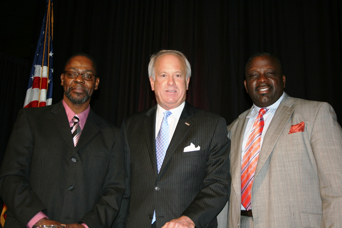 (from left) Reverend Michael Daniels, Enoch Baptist Church; Mayor Will Sessoms; and Dwight Etheridge, Tivest Development & Construction