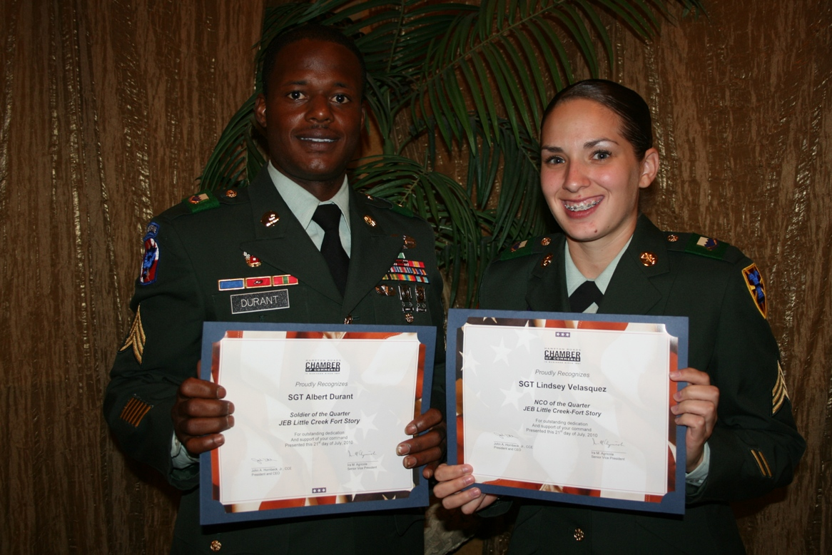 (from left) Sgt. Albert Durant and Sgt. Lindsay Velasquez