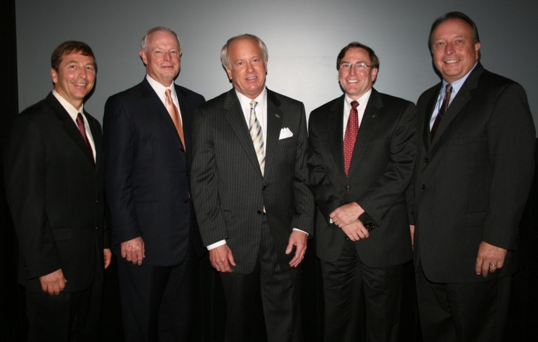 (from left) Linwood Branch, Chair, Chamber's Virginia Beach Division; Robert Aston, Chairman & CEO, TowneBank; Mayor Will Sessoms; Michael Kerner, CEO, Bon Secours Hampton Roads; Thom Prevette, Director of Advocacy and Community Relations, Bon Secours Health System Hampton Roads