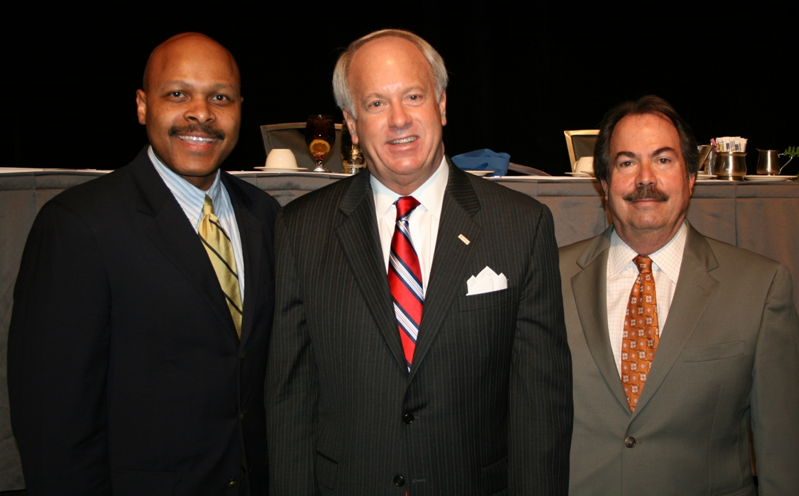 (from left)  Maurice Jones, Chamber Chair; Virginia Beach Mayor William D. Sessoms; and Tuck Bowie, Chamber's Virginia Beach Division Chair