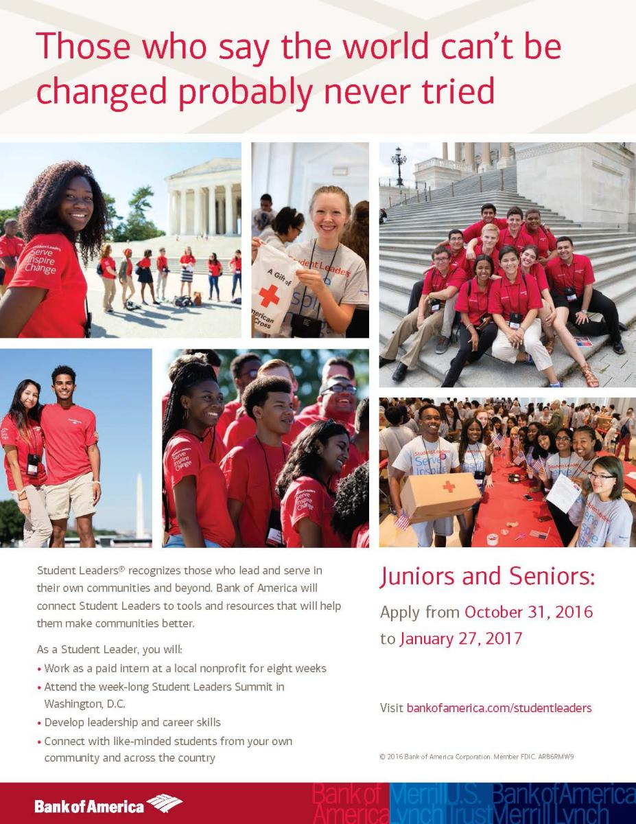 Apply Now to Be A Bank of America Student Leader