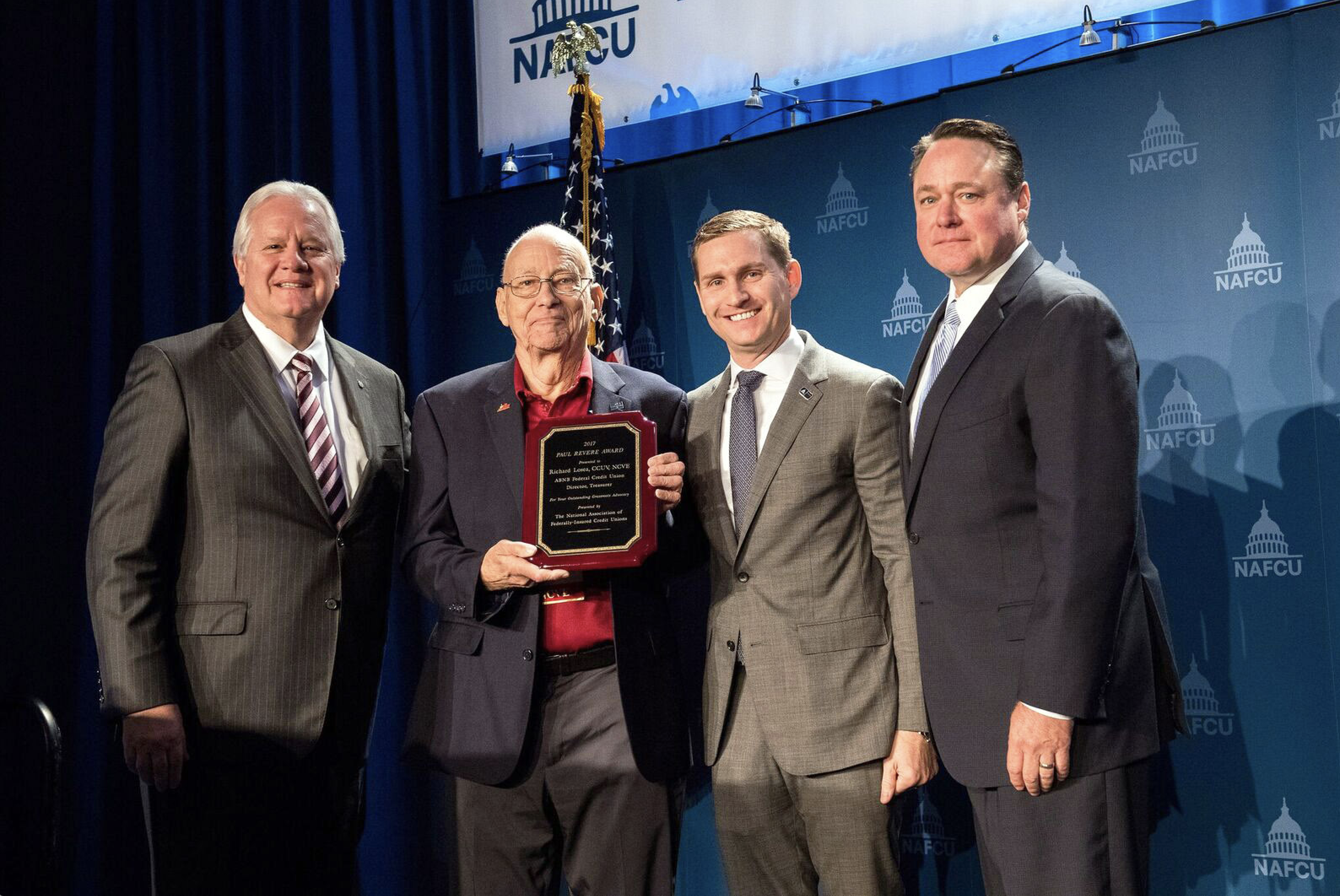 ABNB Board of Directors Treasurer Awarded with 2017 NAFCU Paul Revere Award