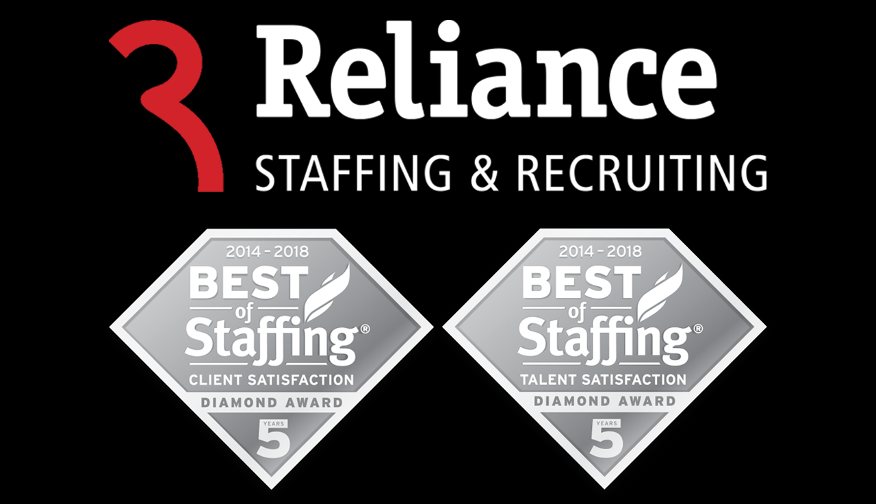 Reliance Staffing & Recruiting Wins 2018 Best of Staffing Client and Talent Diamond Awards for Second Consecutive Year