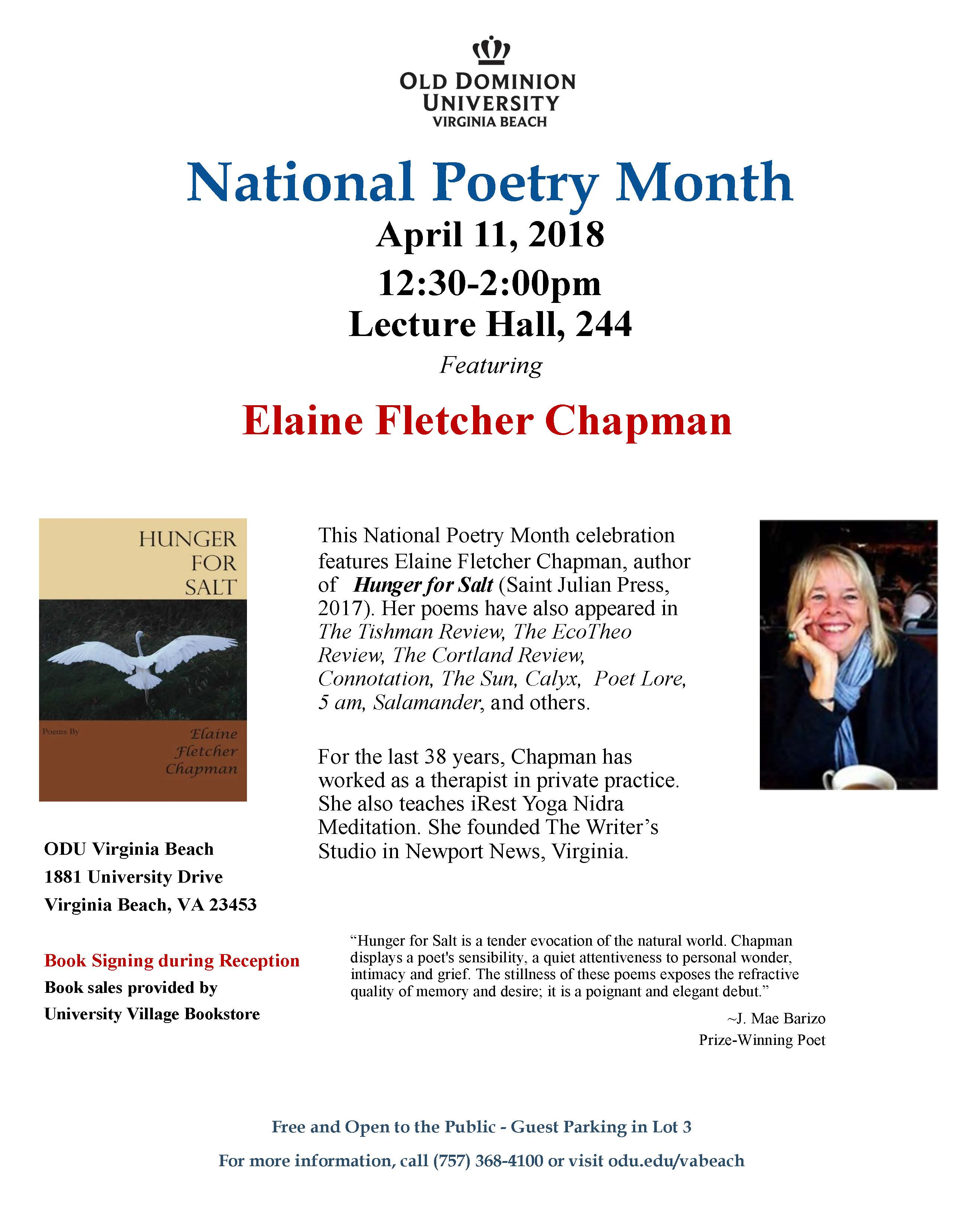National Poetry Month: Elaine Fletcher Chapman