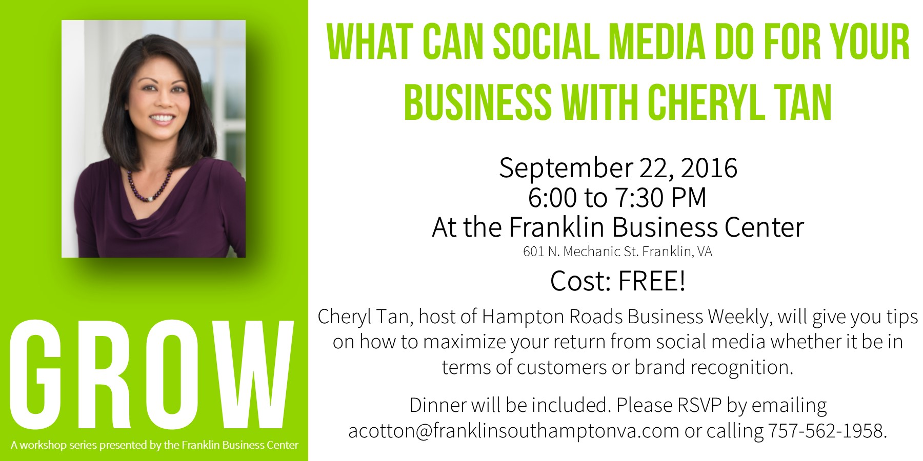 Business Social Media Workshop with Cheryl Tan