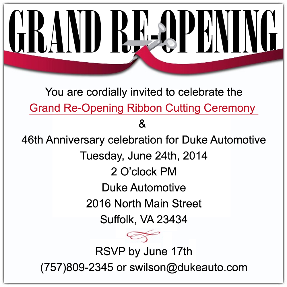 Well-known Duke Automotive Grand Re-opening | Member News | News | Hampton  VQ85