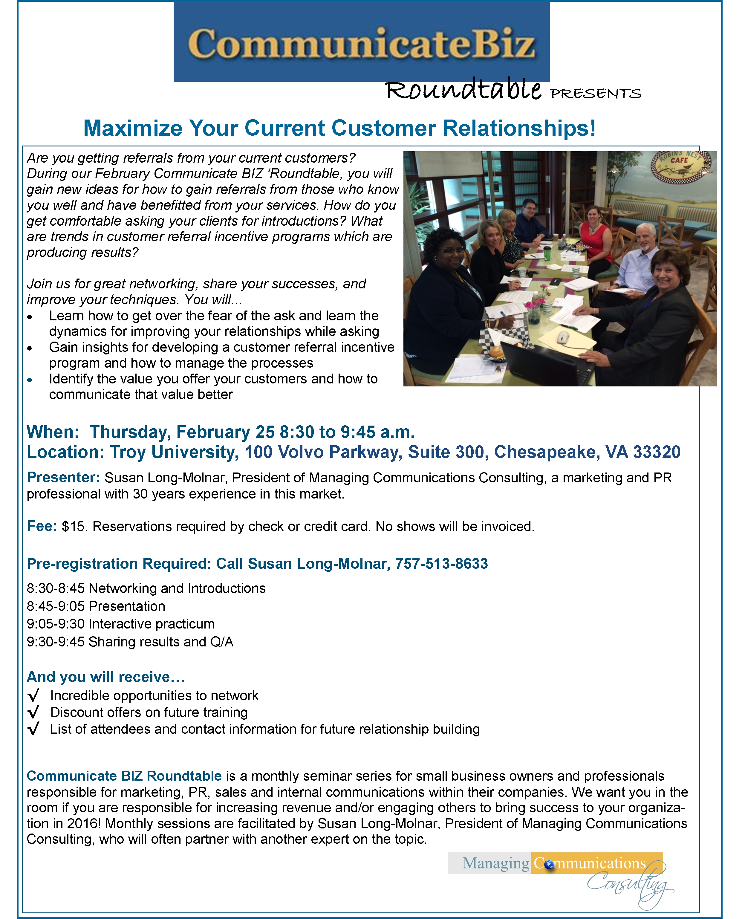 Communicate BIZ Roundtable Presents Maximize Your Client Relationships