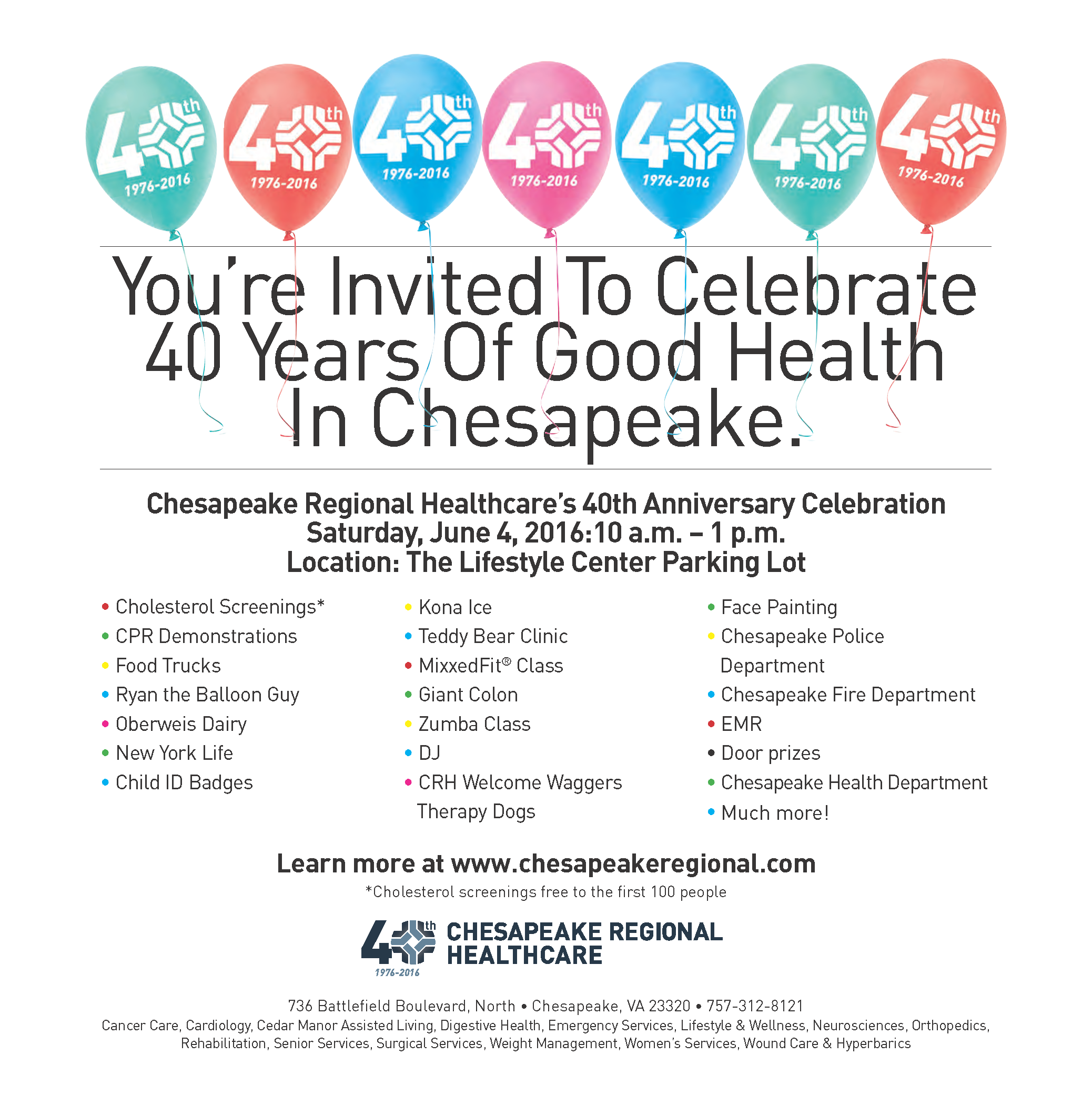 Chesapeake Regional Healthcare's 40th Anniversary Community Celebration