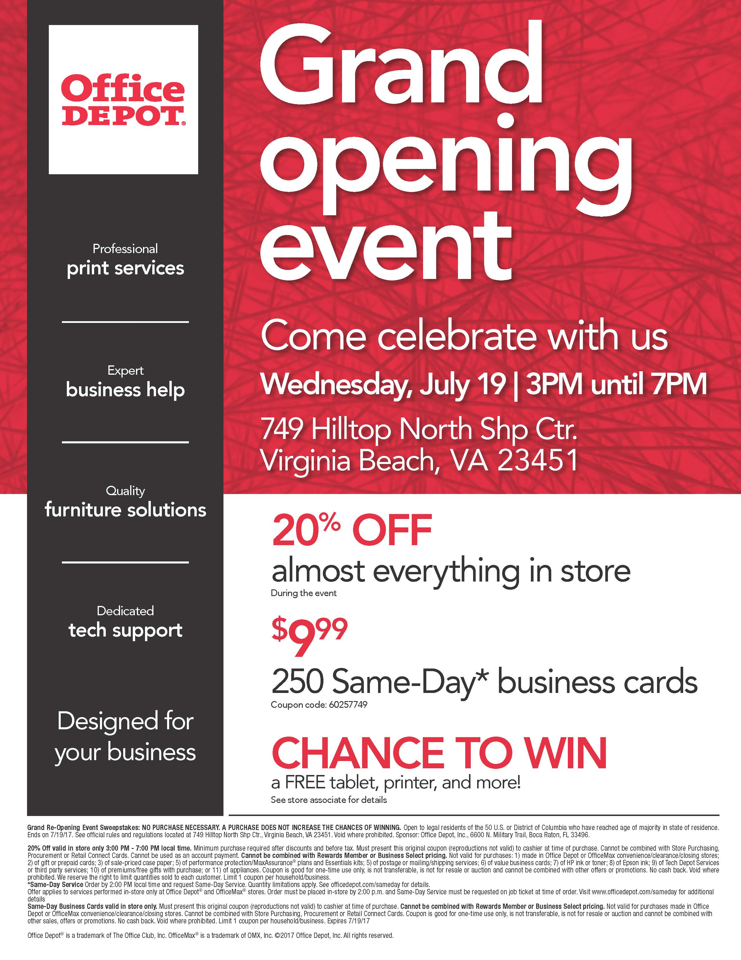 Office depot rewards coupons - Office Depot Grand Reopening