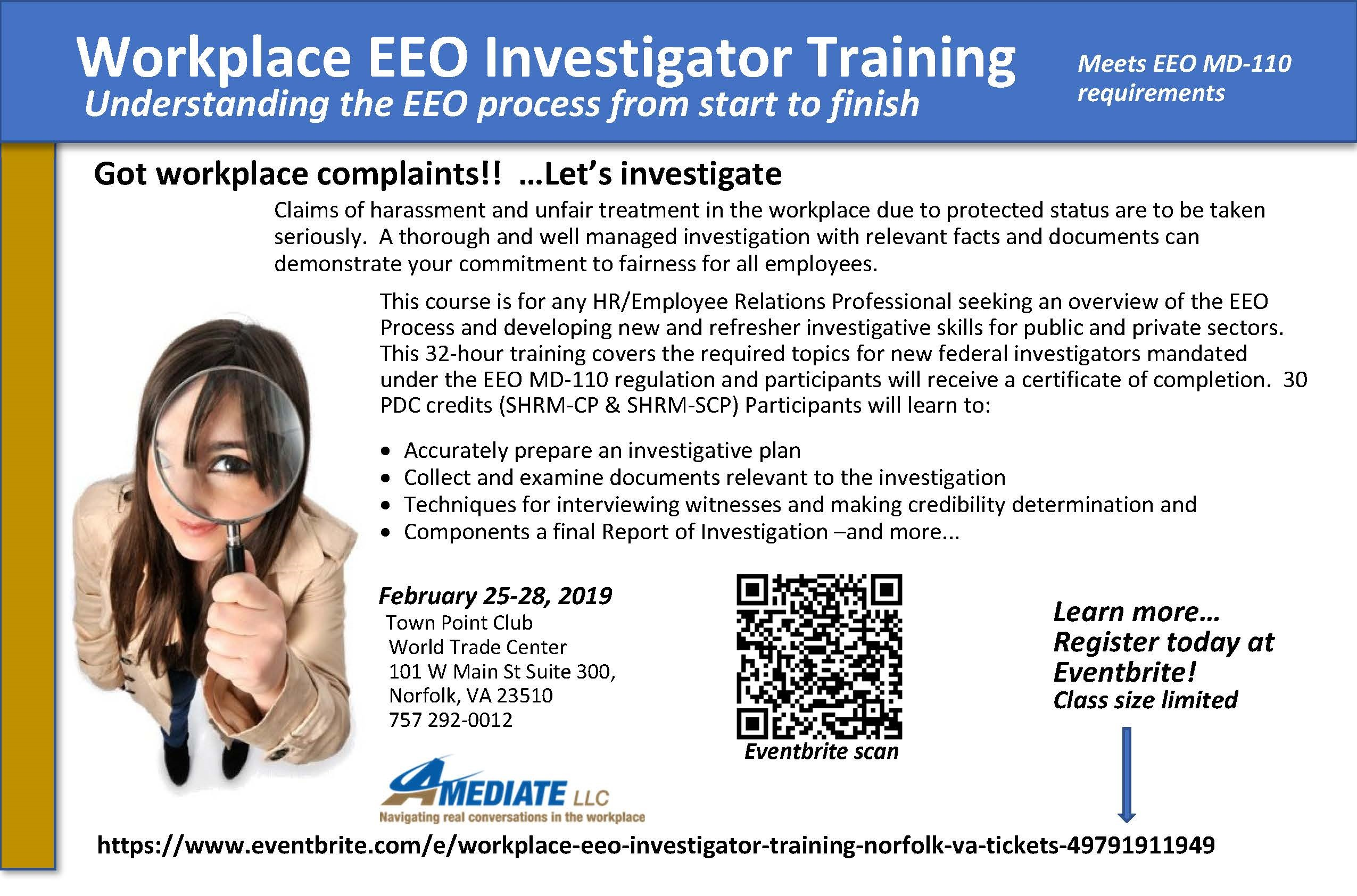 EEO Workplace Investigator Training