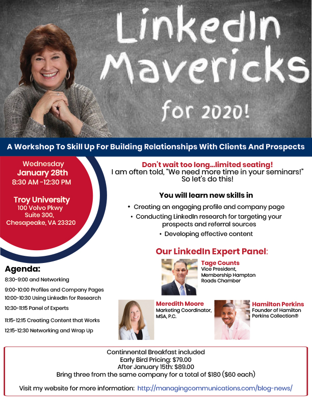Linkedin Mavericks for 2020...A Workshop to Skill Up!