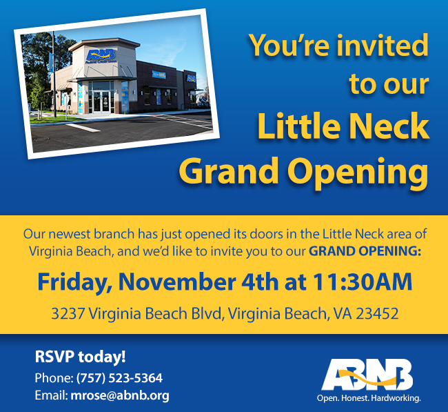 ABNB Federal Credit Union Opens a new branch in Virginia Beach!