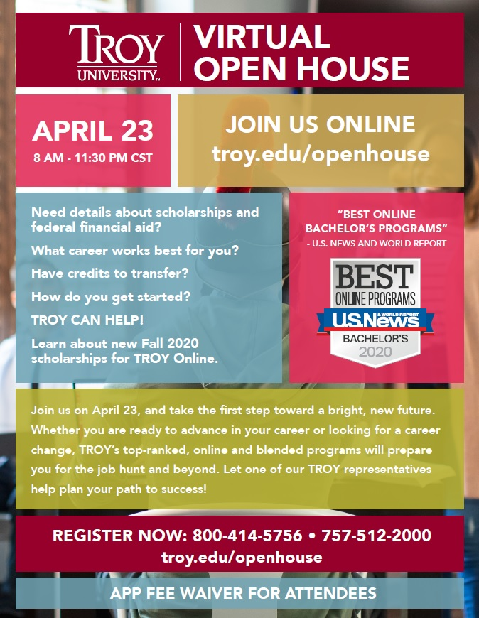 Troy University Hosts VIRTUAL Open House on April 23