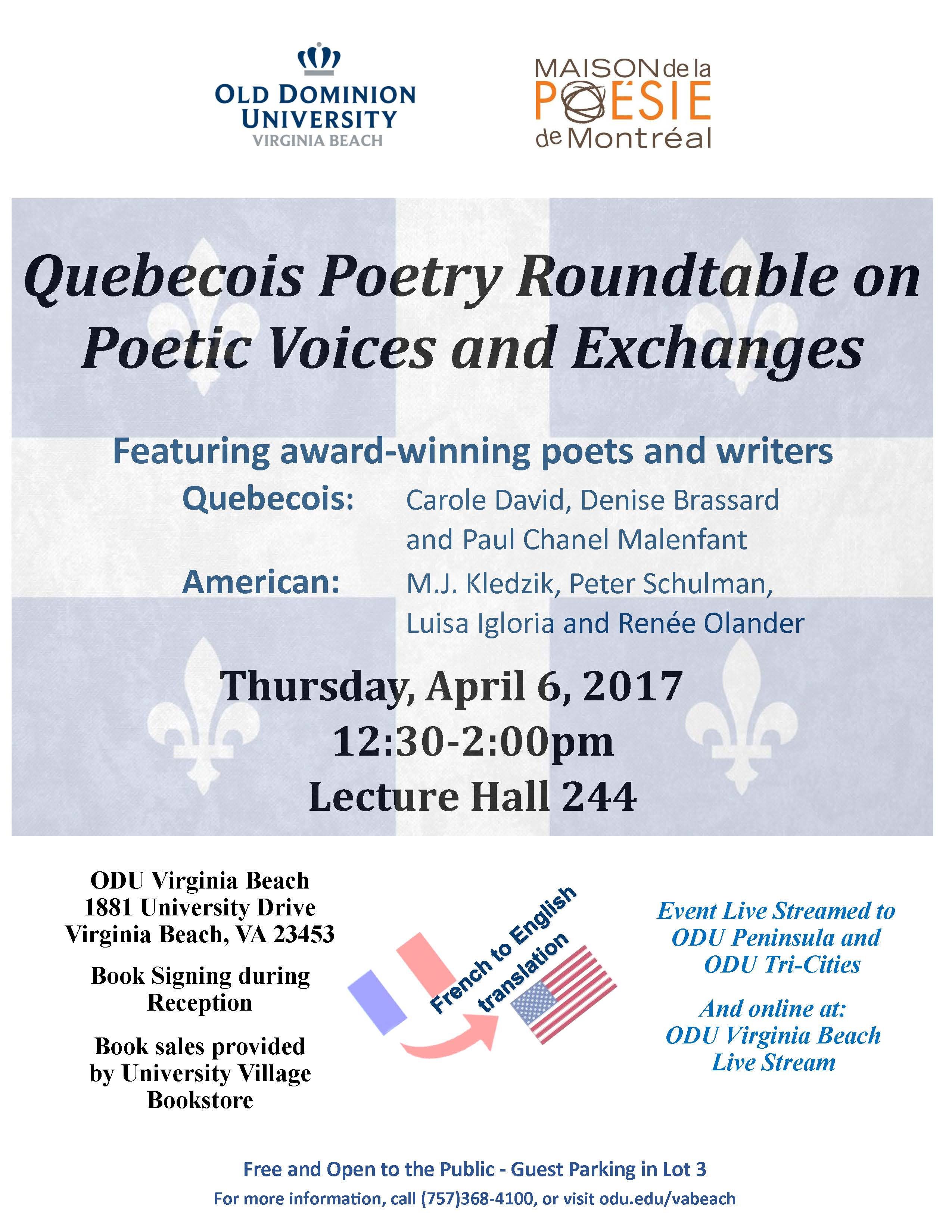 Quebecois Poetry Festival-April 6