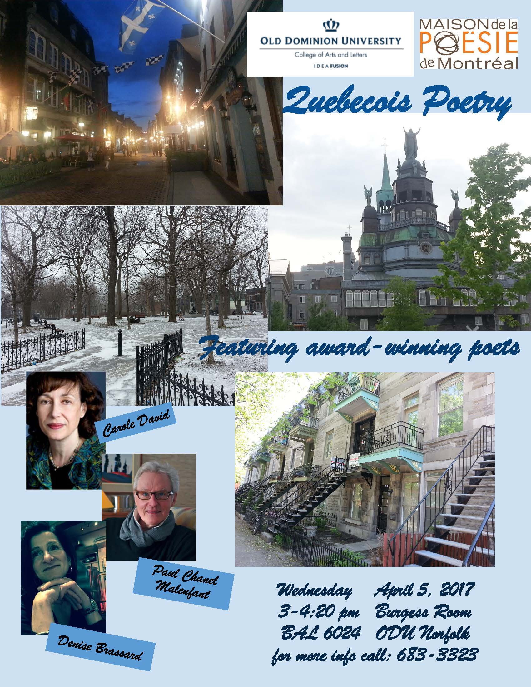 Quebecois Poetry Festival-April 5