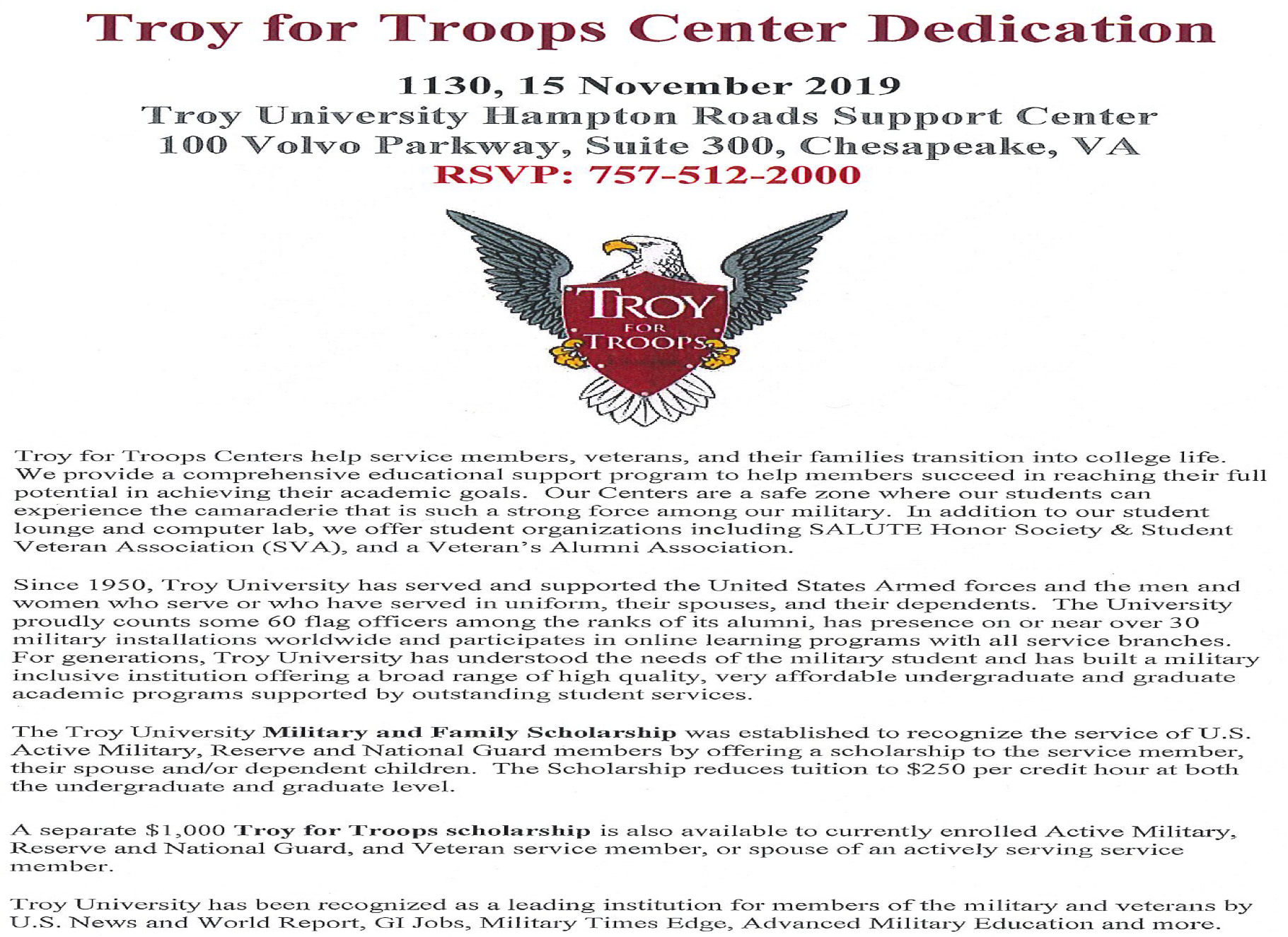 Troy University hosts Dedication Ceremony for Troy for Troops Center in Chesapeake
