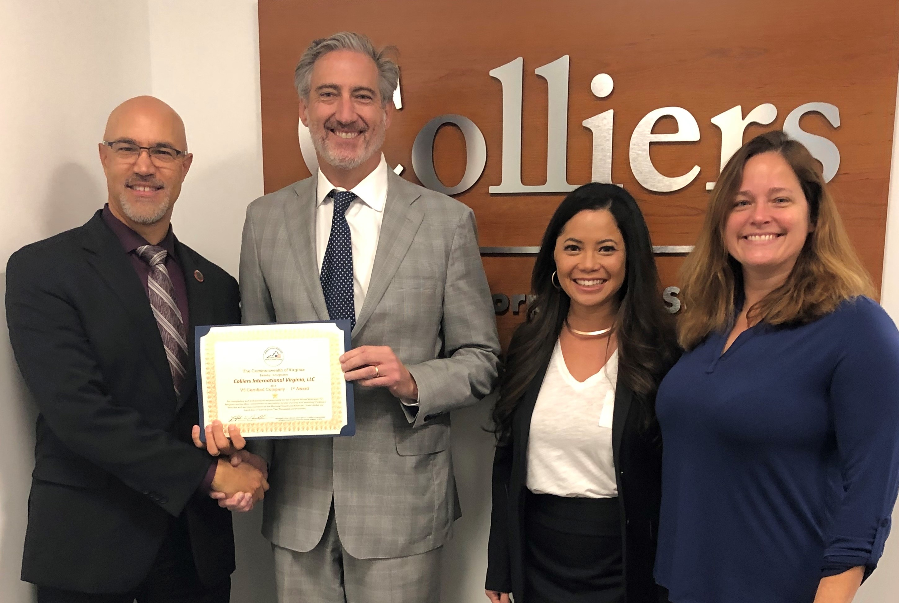 Colliers Virginia certified by Governor Northam as Virginia Values Veterans V3 organization