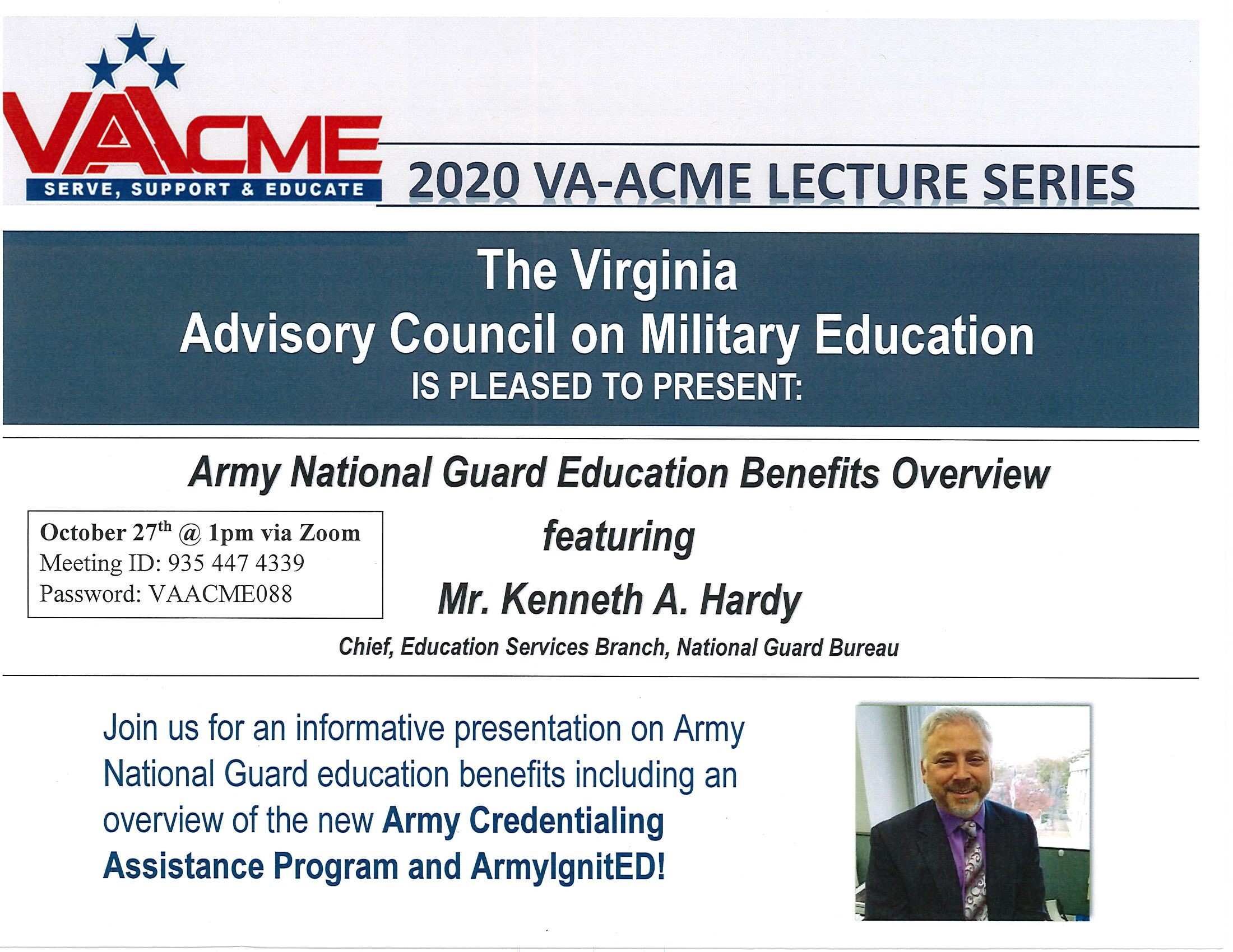 VA-ACME Presents: Army National Guard Education Benefits Overview via Zoom Today at 1pm