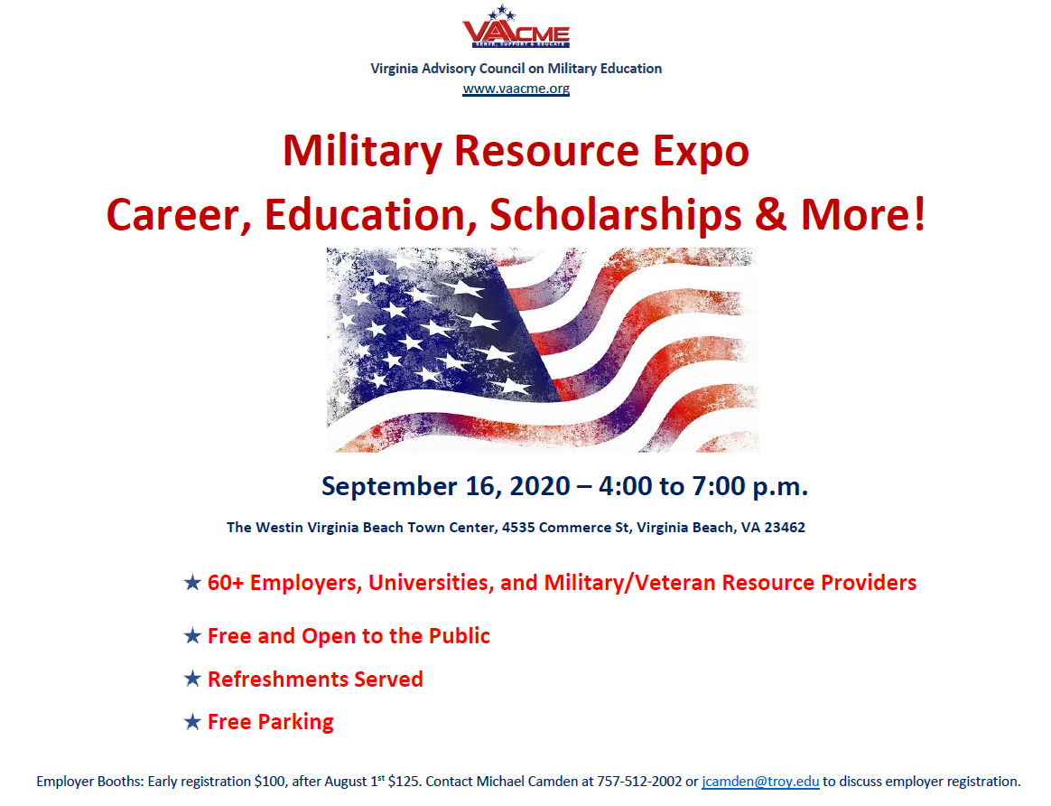 VA-ACME Military Resource Expo Rescheduled to September 16 due to COVID-19 Pandemic