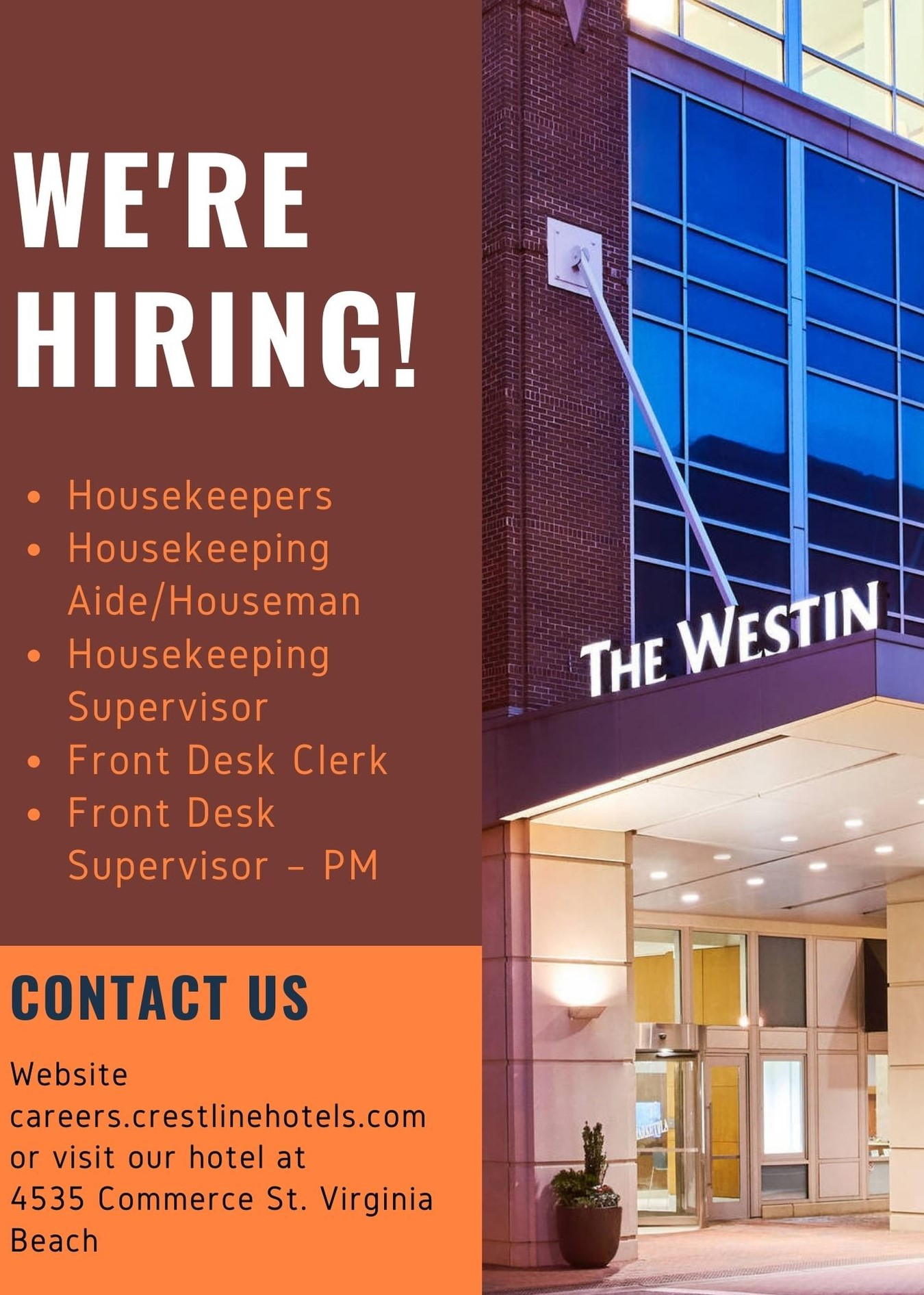 WESTIN VIRGINIA BEACH TOWN CENTER - OPEN POSITIONS!