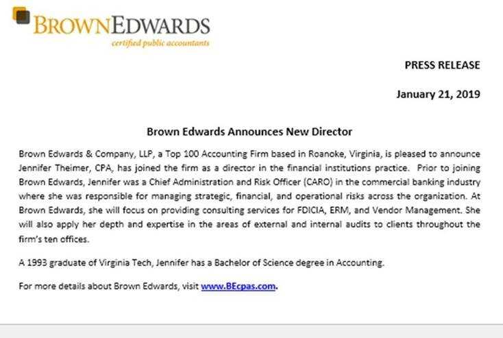 Brown Edwards Announces New Director