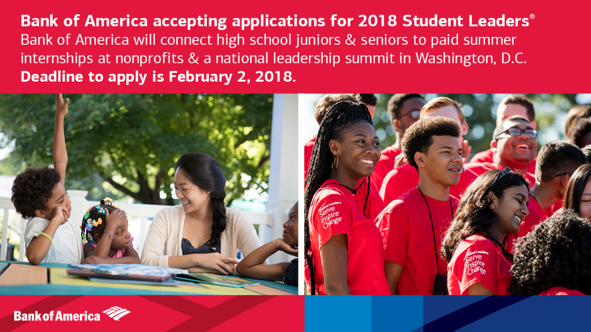 2018 Bank of America Student Leaders Program - Deadline February 2nd