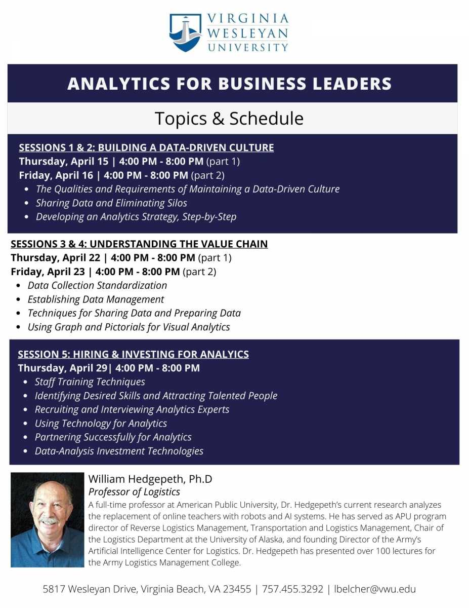 Virginia Wesleyan University is offering two certificate courses this spring:  Analytics for Business Leaders and Business Management Certificate