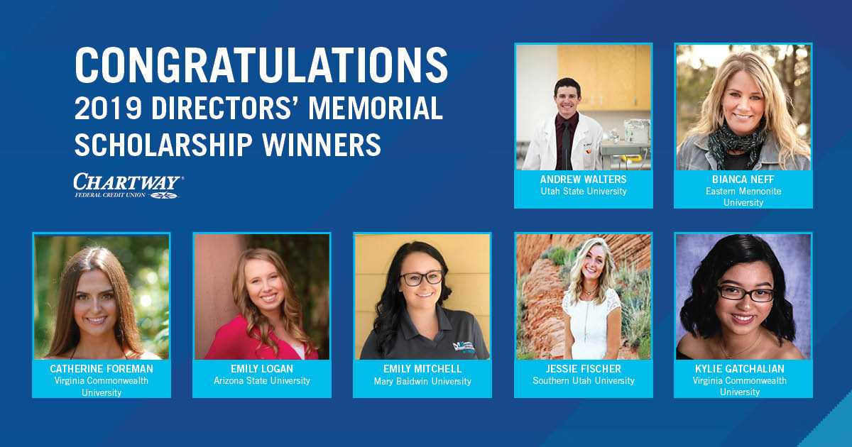 Chartway Federal Credit Union's Directors' Memorial Scholarship Program Awards Seven Scholarships to Student Members