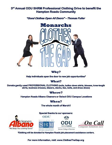 3rd Annual ODU SHRM Professional Clothing Drive to benefit the Hampton Roads Community