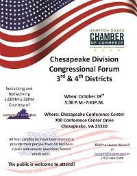 Chesapeake Division to Host Congressional Forum for 3rd and 4th Districts