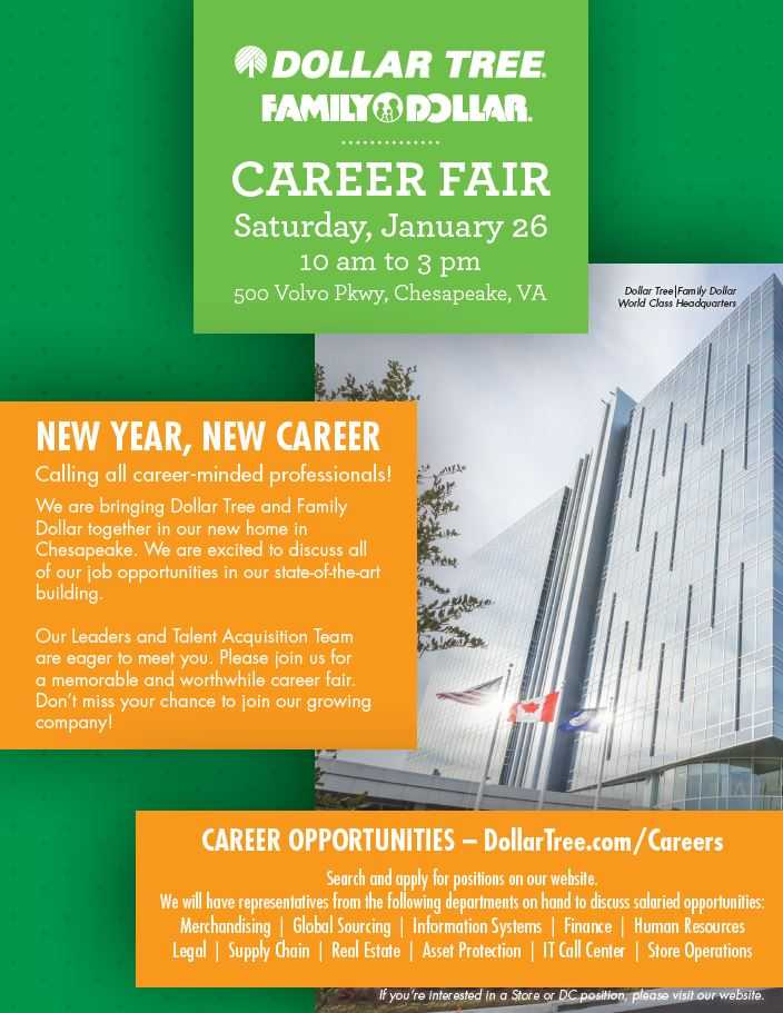 Dollar Tree Chesapeake Headquarters is Hosting a Career Fair