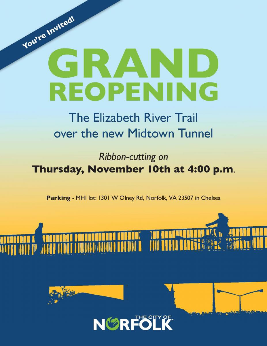 Grand Reopening of the Elizabeth River Trail over the new Midtown Tunnel