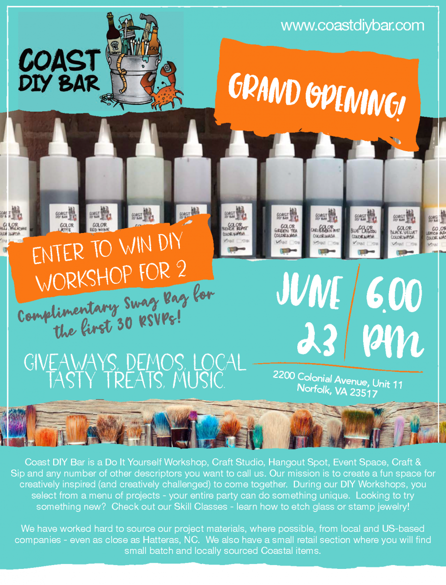 Coast DIY Bar will have its Grand Opening on June 23rd!