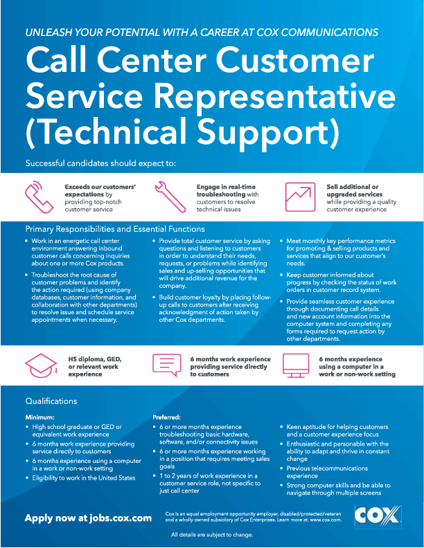 Now Hiring! Cox Communications Customer Service (Technical Support) Representative